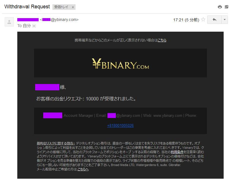 Yバイナリーから出金申請完了のメールが届きました